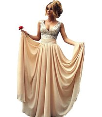 women's champagne sequins prom dress long, evening dress,party dress, prom gown