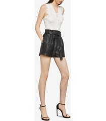 bcbgmaxazria faux-leather paper-bag waist shorts