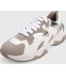 tenis blanco-gris-plateado beira rio