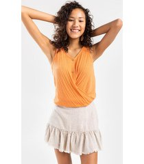 leigh twist front sweater tank - coral