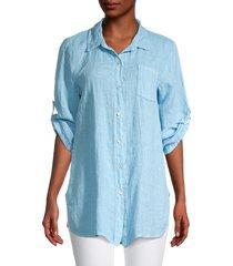 saks fifth avenue women's convertible-sleeve linen shirt - sky blue - size l