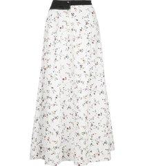 white flower print midi skirt