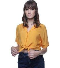 camisa cropped amarração pop me