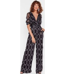 womens on the spot ruched wide-leg jumpsuit - black
