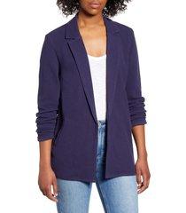 women's caslon knit blazer, size x-small - blue