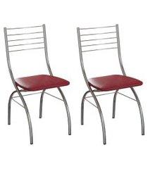 conjunto com 2 cadeiras devon vinho e cromado