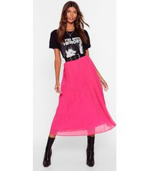 womens in the drivers pleat high-waisted midi skirt - hot pink
