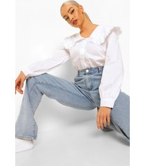 blouse met peter pan kraag en franjes, white