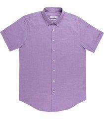 camisa casual manga corta unicolor slim fit para hombres 93463