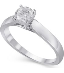 certified diamond (3/8 ct. t.w.) engagement ring in 14k white gold