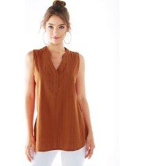 yoins rust slit diseño camiseta sin mangas con cuello en v
