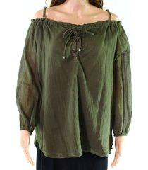blouse lace-up cold-shoulder