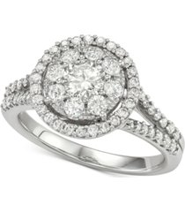 diamond halo cluster engagement ring (1-1/4 ct. t.w.) in 14k white gold