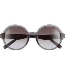 salvatore ferragam gancini 52mm round sunglasses - crystal grey/ grey gradient