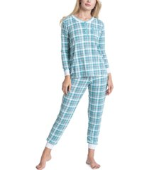 muk luks printed henley top & pants 2pc pajama set