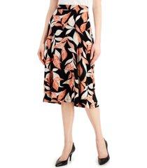 kasper floral-print skirt