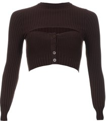 andrea adamo ribbed knit crop top with cut-out