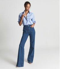 reiss jenny - cotton poplin shirt in blue, womens, size 14
