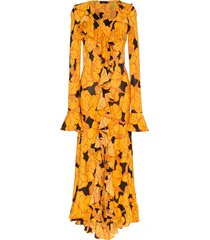 de la vali tangerine ruffle silk maxi dress - black