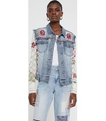 jacket floral patch jean and crochet - blue - 46
