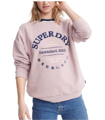 superdry applique serif crew sweatshirt