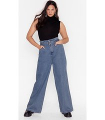 womens round up belted plus wide-leg jeans - mid blue