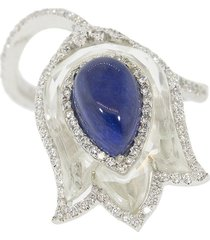 saboo fine jewels 18kt white gold burma sapphire diamond tulip ring -