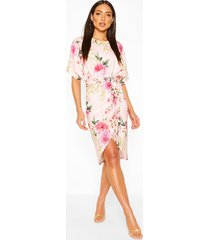 floral wrap tie waist midi dress, nude