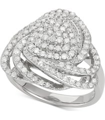 wrapped in love diamond triangle floral ring (1 ct. t.w.) in sterling silver, created for macy's