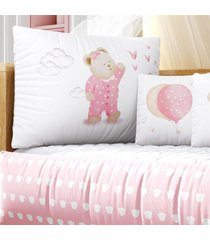 kit berã§o rosa ursinha pijama estampa grã£o de gente rosa - rosa - menina - dafiti