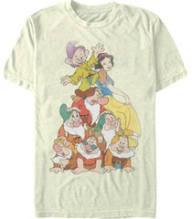 disney men's snow white seven dwarf stack short sleeve t-shirt