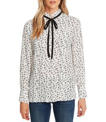 women's cece ditsy etching tie neck long sleeve blouse, size x-small - ivory