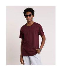 camiseta masculina manga curta básica gola careca roxa
