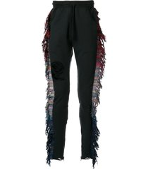 alchemist distressed fringe track pants - black