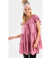 lucy babydoll mini dress - mauve