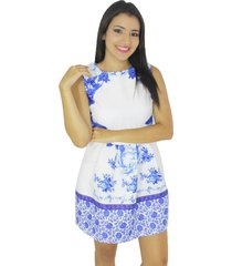 vestido blanco flores azules vt-00188