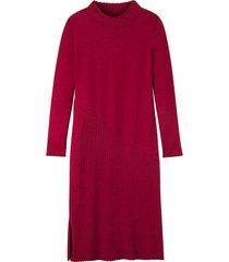 gebreide jurk uit bio-merino/katoenmix met slank silhouet en staande kraag, framboos 42