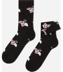 calzedonia cotton ankle socks in warner bros pattern man black size tu