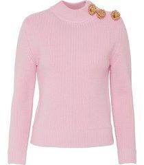 breton' brooch button embellished wool sweater
