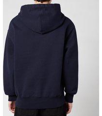 ami men's de coeur tonal hooded sweatshirt - navy - xl