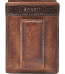 fossil quinn magnetic card case leather wallet
