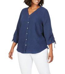 plus size women's foxcroft marley gauze shirt, size 16w - blue