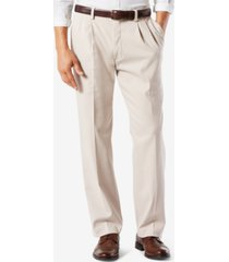 dockers men's big & tall easy classic pleated fit khaki stretch pants