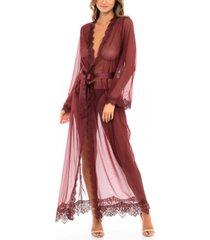 women's eyelash lace floor length robe with satin sash