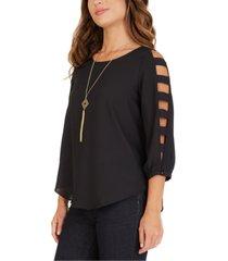 bcx juniors' lattice-sleeve necklace top