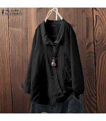 zanzea mujeres down asimétrica hem tapas de la camisa de la solapa de la camisa ocasional de la blusa plus -negro