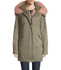 fox fur-trimmed parka & faux fur vest