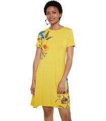 vestido amarillo-multicolor desigual