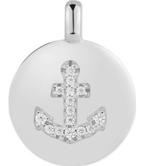 """charmbar swarovski zirconia anchor """"be strong"""" reversible charm pendant in sterling silver"""