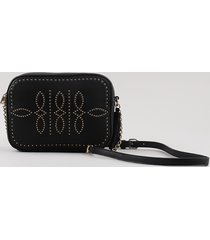 bolsa feminina média transversal com tachas e tassel preta